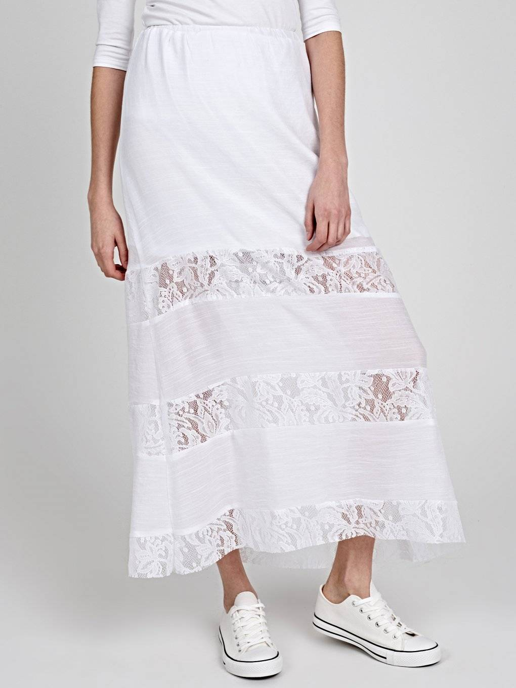 MAXI SKIRT WITH LACE PANELS