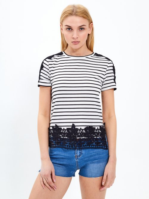 Striped top with crotchet details