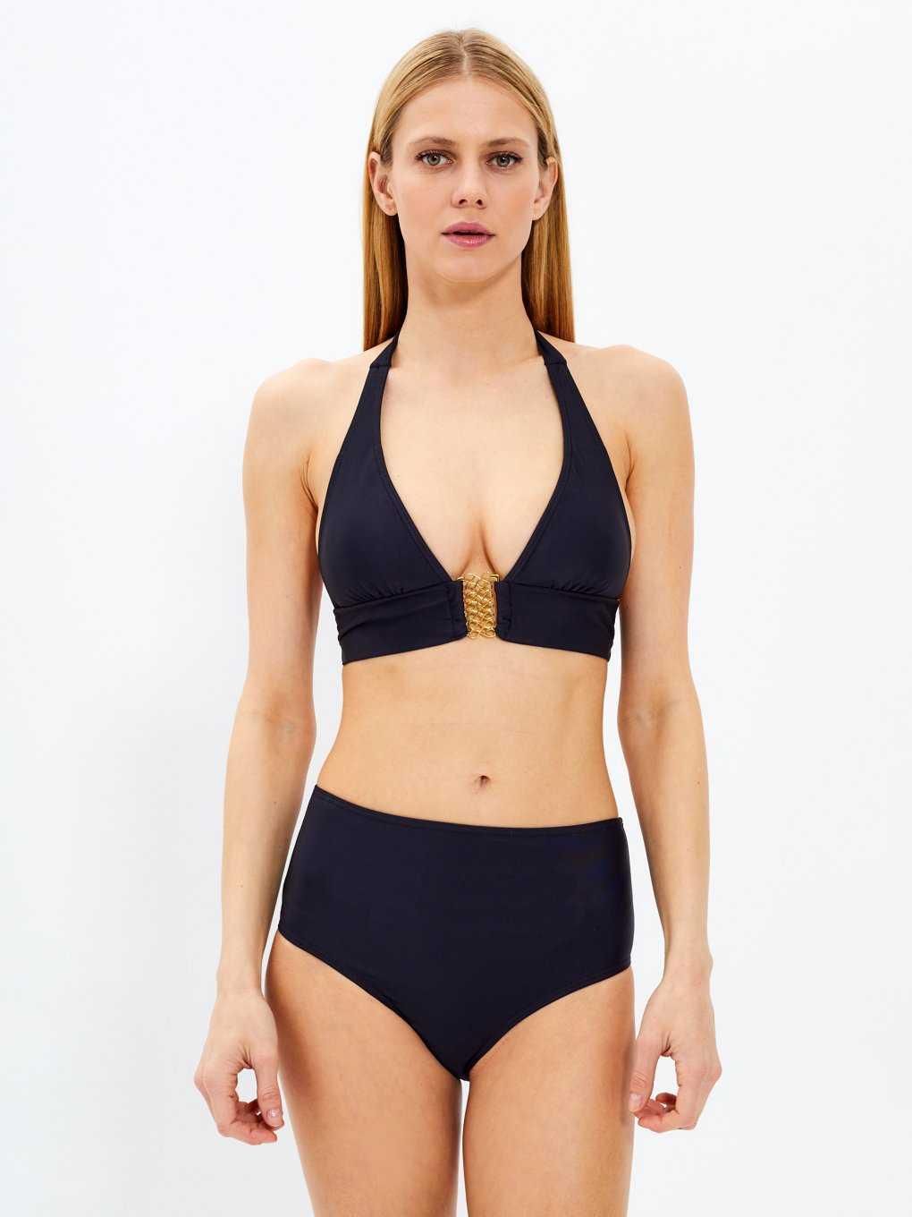 Halter bikini top with embellishment