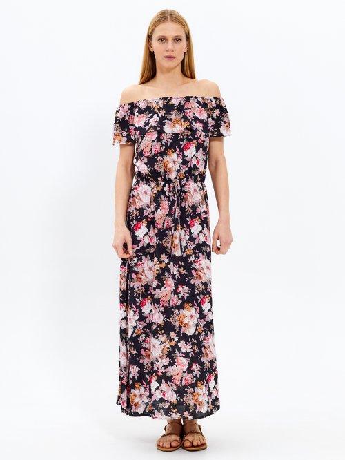 563af63807 Dlhé šaty s kvetinovou potlačou a volánom