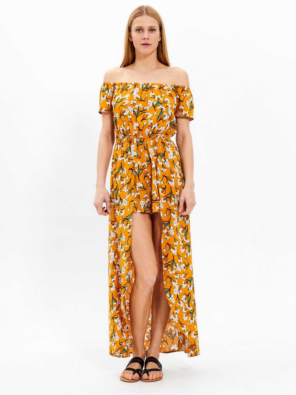 Floral print short jumpsuit with maxi train