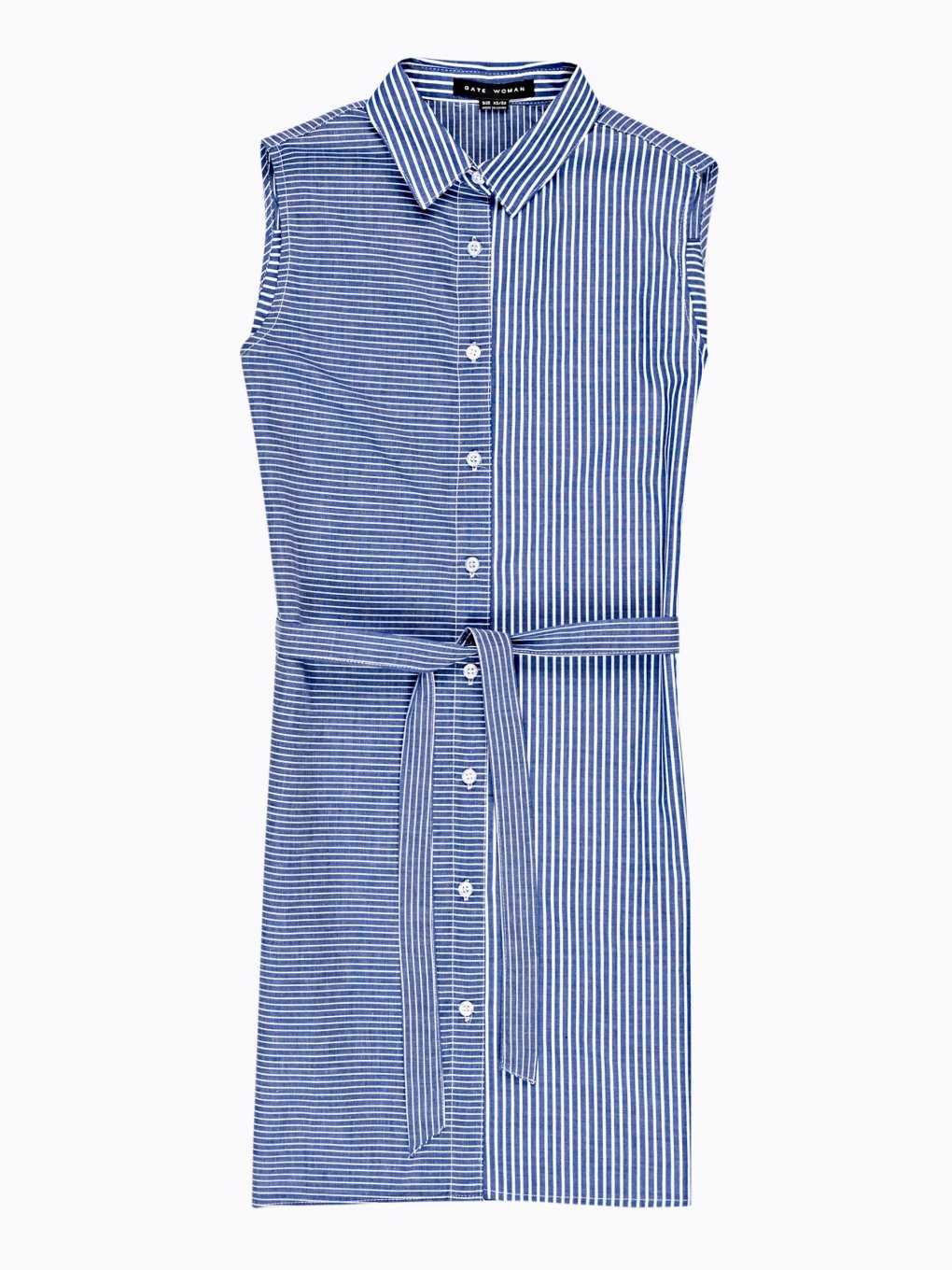 LONGLINE STRIPED SLEEVELESS SHIRT WITH BELT