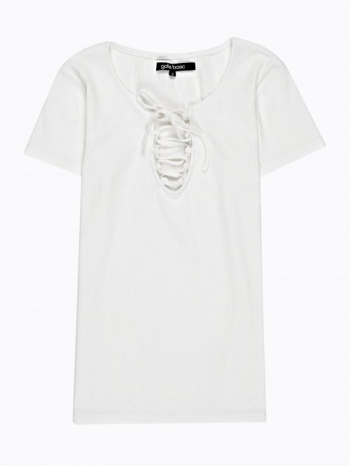 RIB-KNIT T-SHIRT WITH FRONT LACING