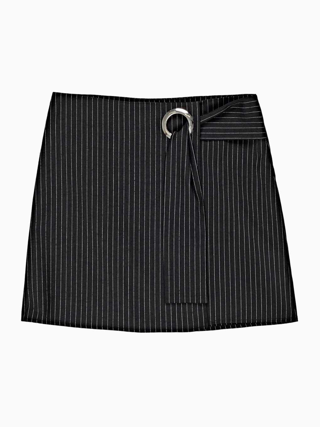 STRIPED MINI SKIRT WITH METAL EYELET
