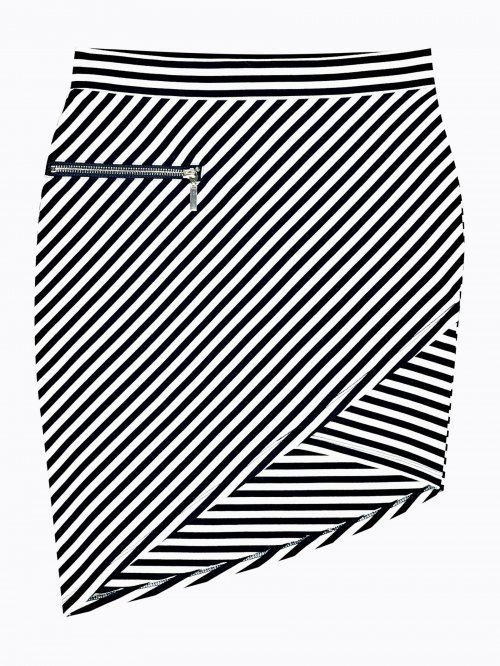 Striped mini skirt with asymmetric hem