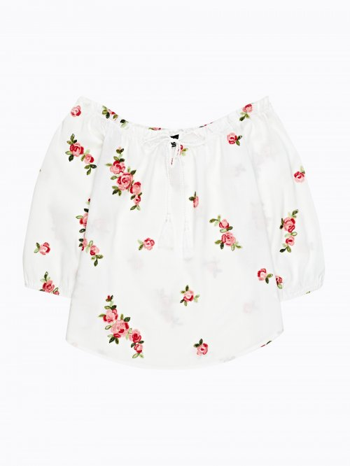 Off-the-shouldler blouse with embroidery
