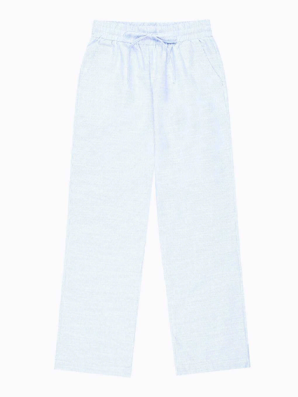 Wide leg cotton trousers