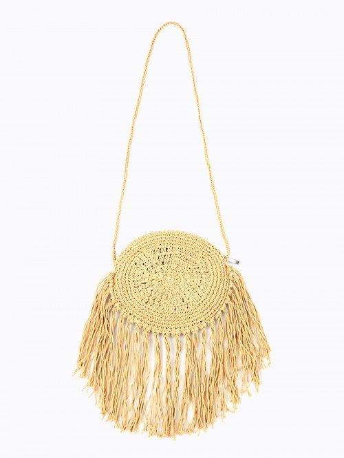 Cross-body bag with tassels
