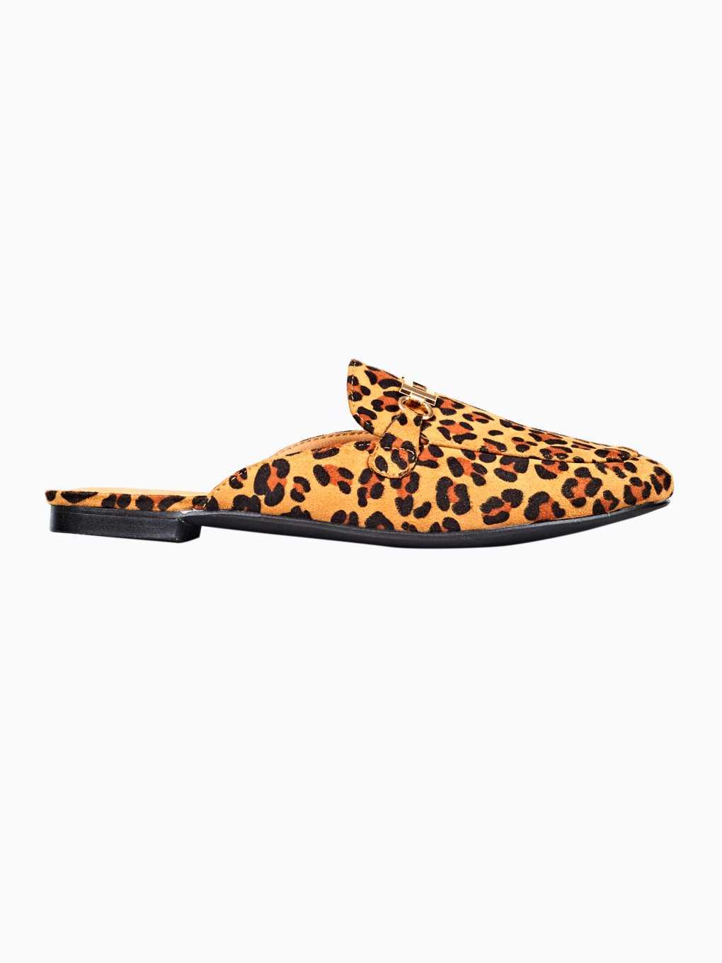 Animal print loafer slides