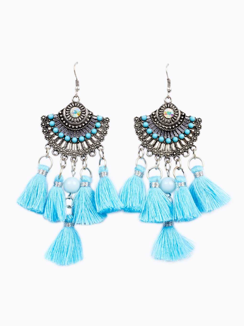 Drop earrings with tassels