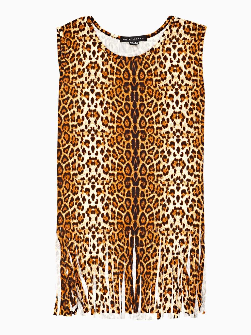 Animal print top with tassels