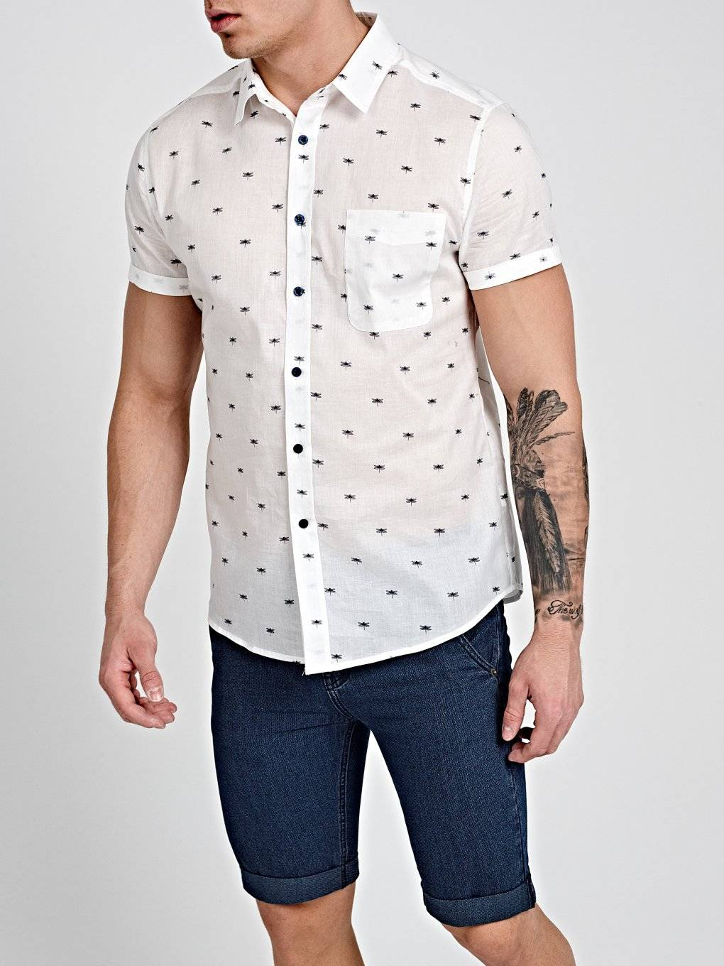 PRINTED COTTON SLIM FIT SHIRT