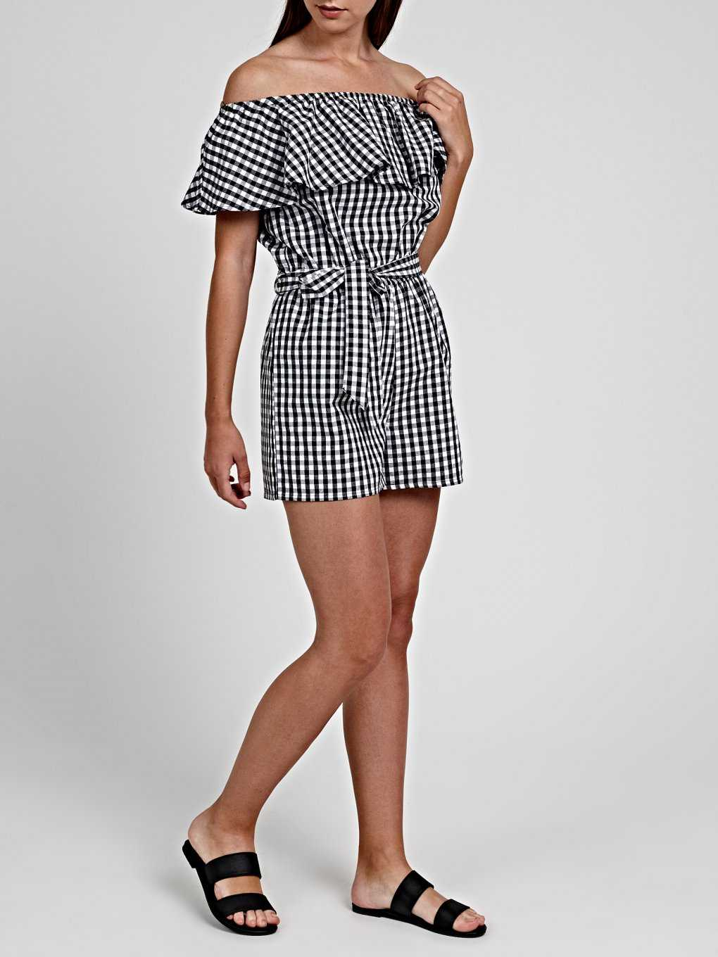 GINGHAM PATTERN SHORT JUMPSUIT