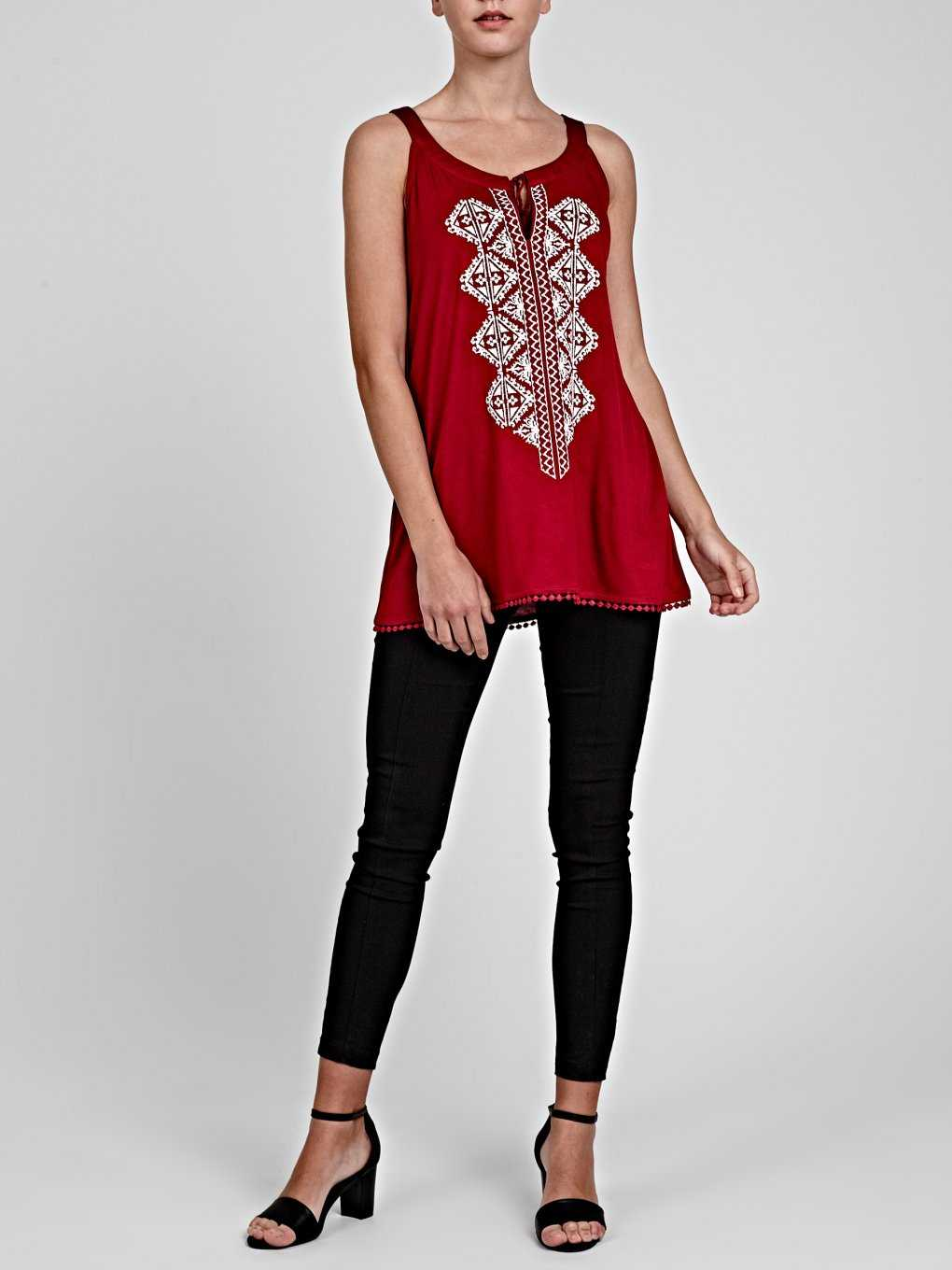 EMBROIDERED TANK TOP WITH FRONT LACING