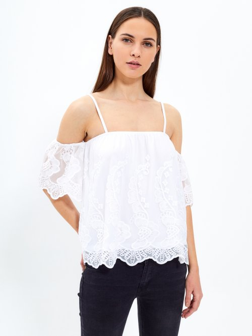 Strappy embroidered top