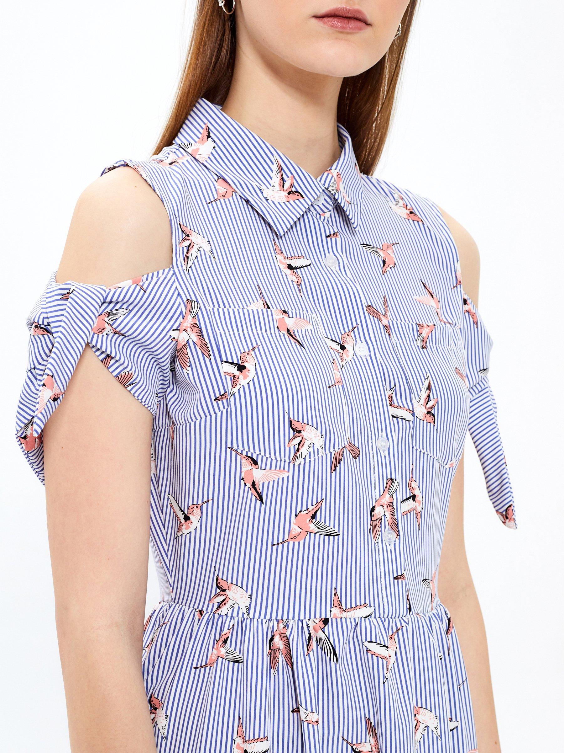 f20d6704da9d Prúžkované košeľové šaty s potlačou