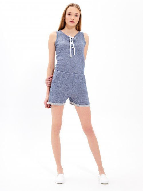 Short jumpsuit with front lacing