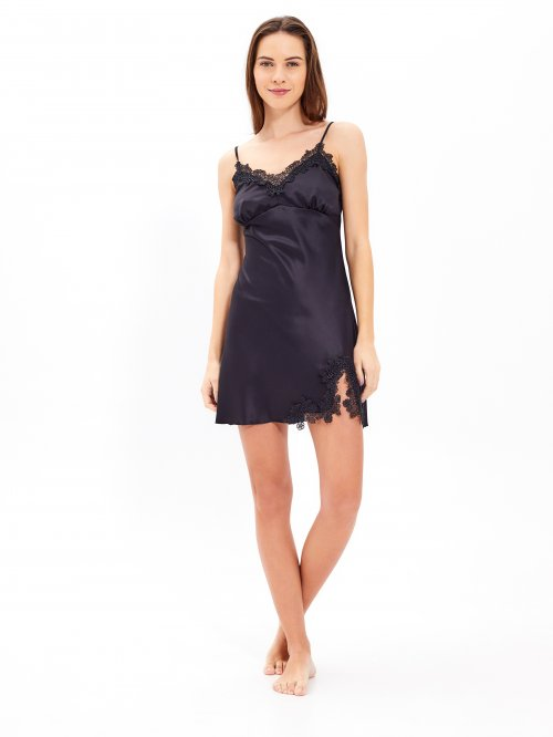 Satin nightdress with lace