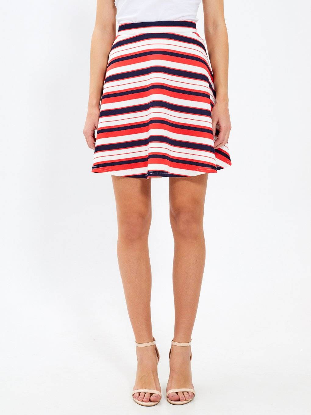 A-line striped skirt