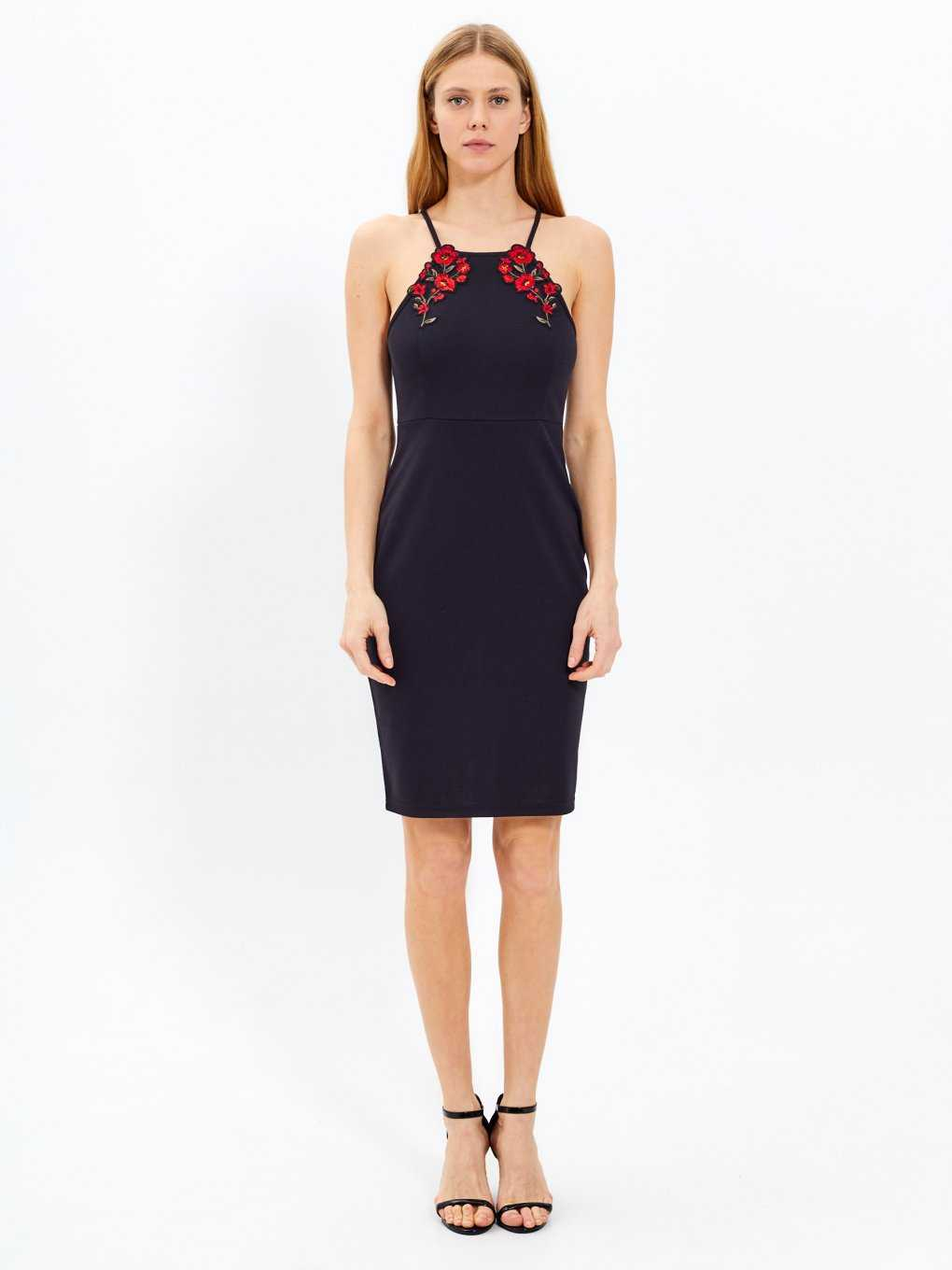 Halter neck dress with embroidery