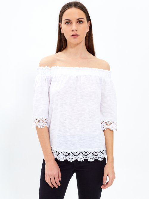 Off-the-shoulder top with crochet details