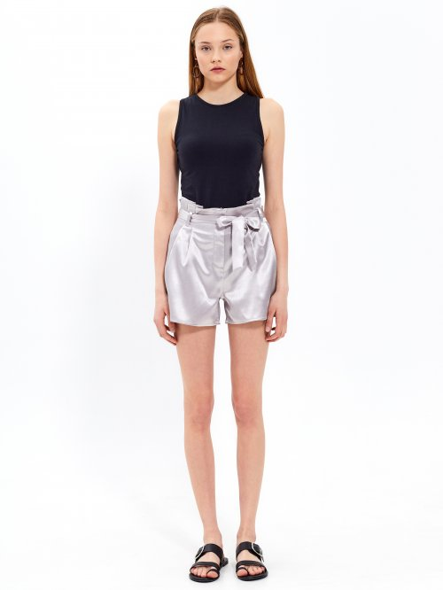 Satin paper bag shorts