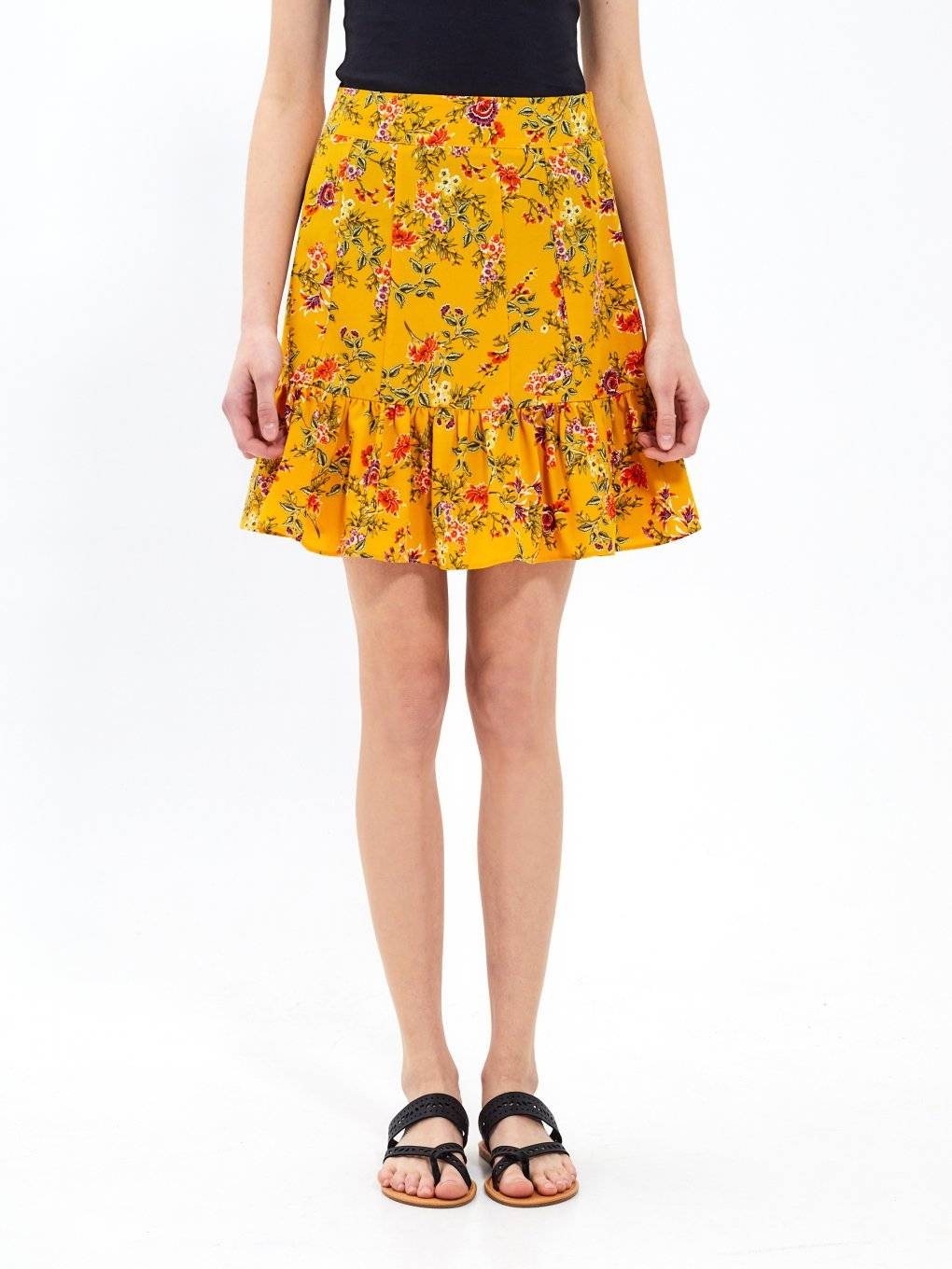 Floral print skirt with ruffle hem