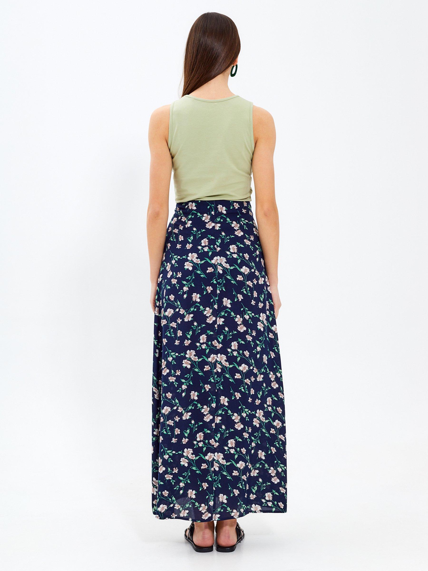 d567911ae118 Dlhá sukňa s kvetinovou potlačou