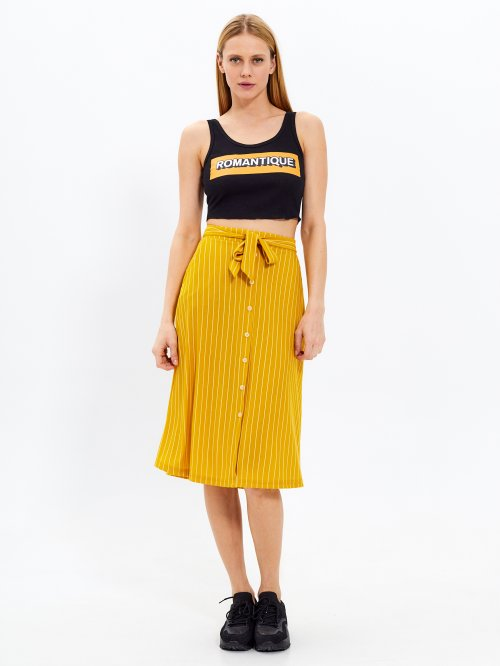 Striped midi skirt with buttons