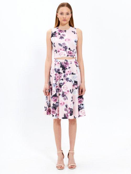 5fae723d7795 Áčková sukňa midi s kvetinovou potlačou