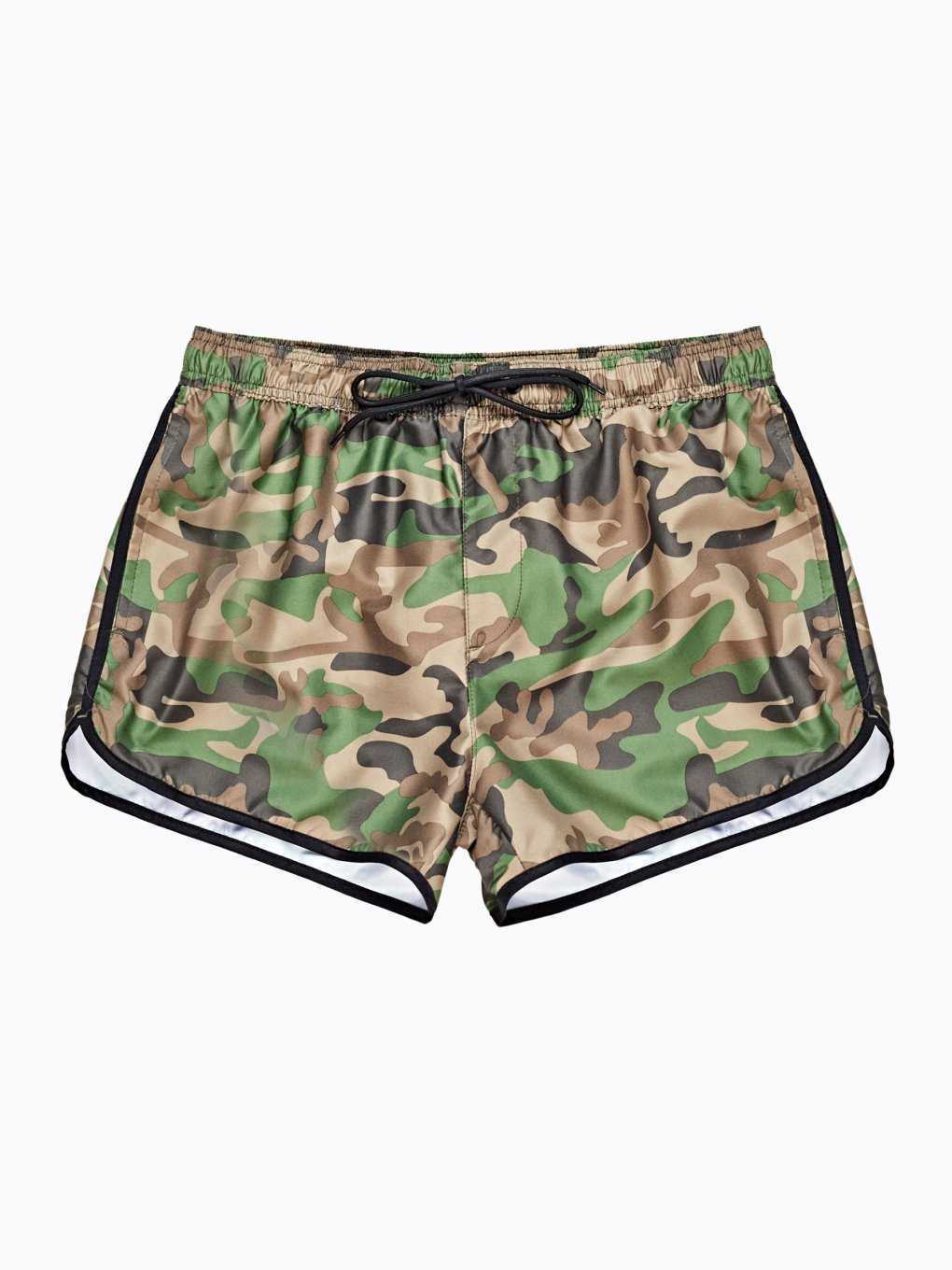 Camo print swim shorts with contrast trim