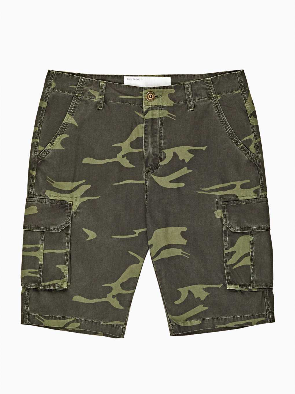 Camo print cotton cargo shorts