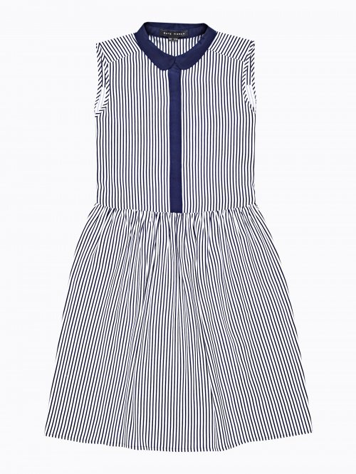Striped shirt dress with contrast collar