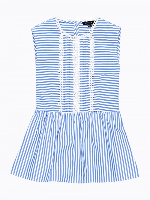 Striped peplum top with croched detail