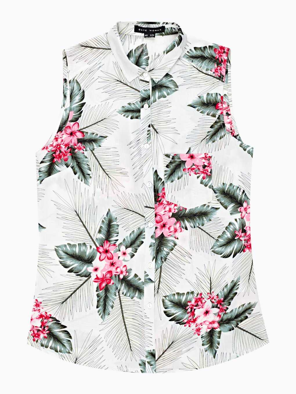 Floral print viscose sleeveless shirt