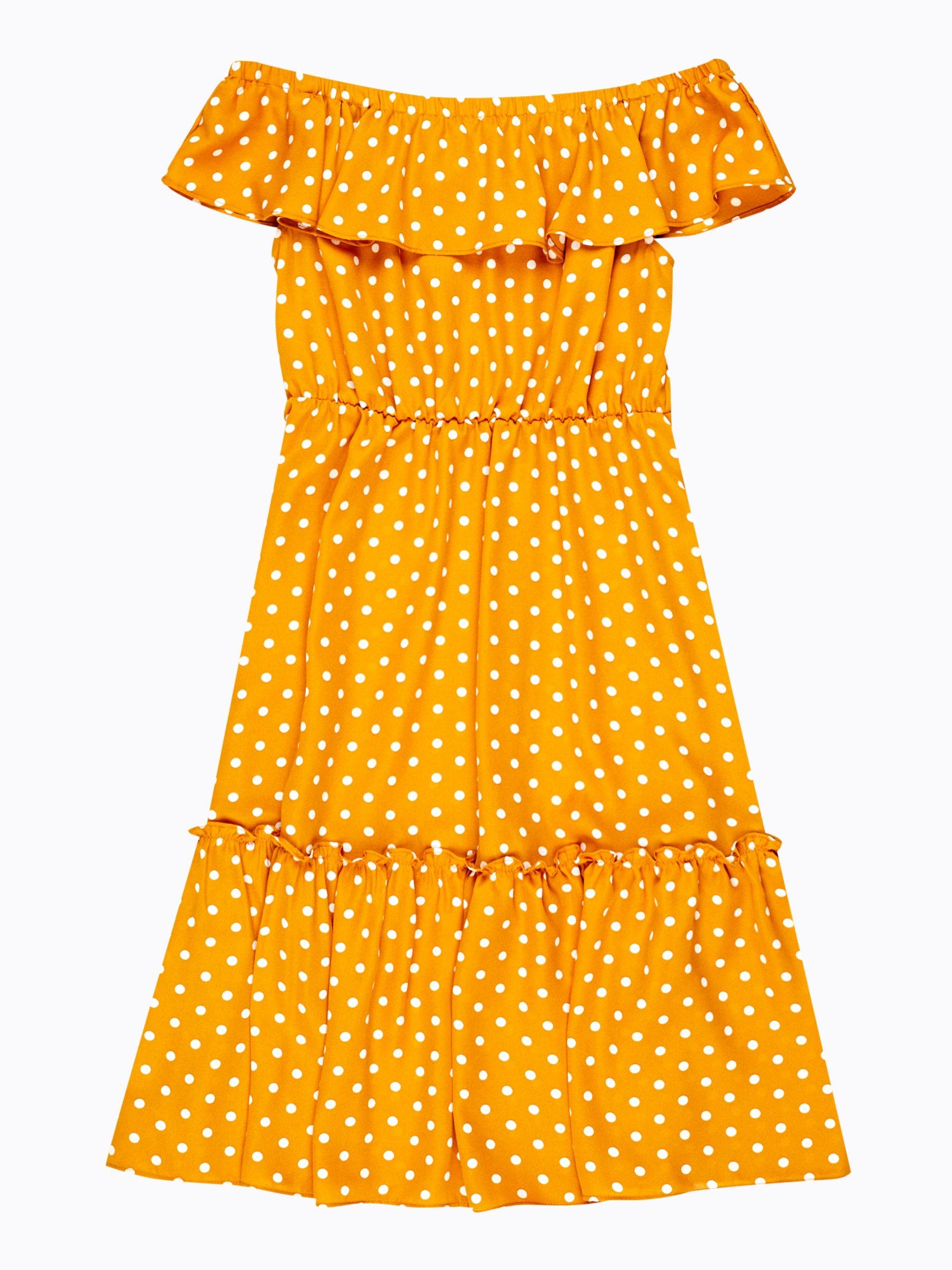 68fe13e0f074 Bodkované midi šaty s volánmi a odhalenými ramenami