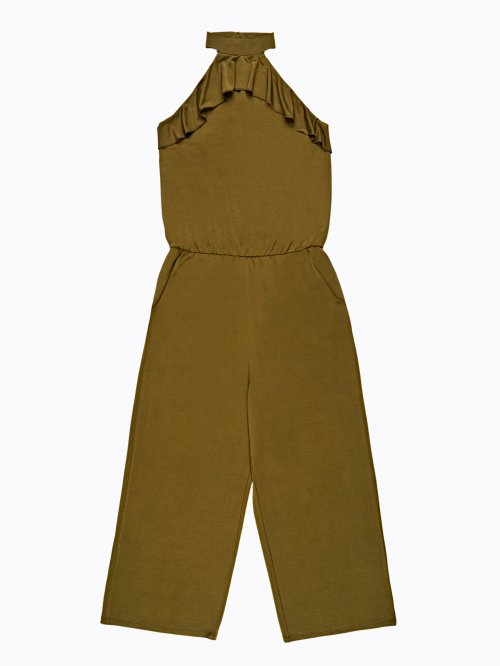 Wide leg jumpsuit with ruffle