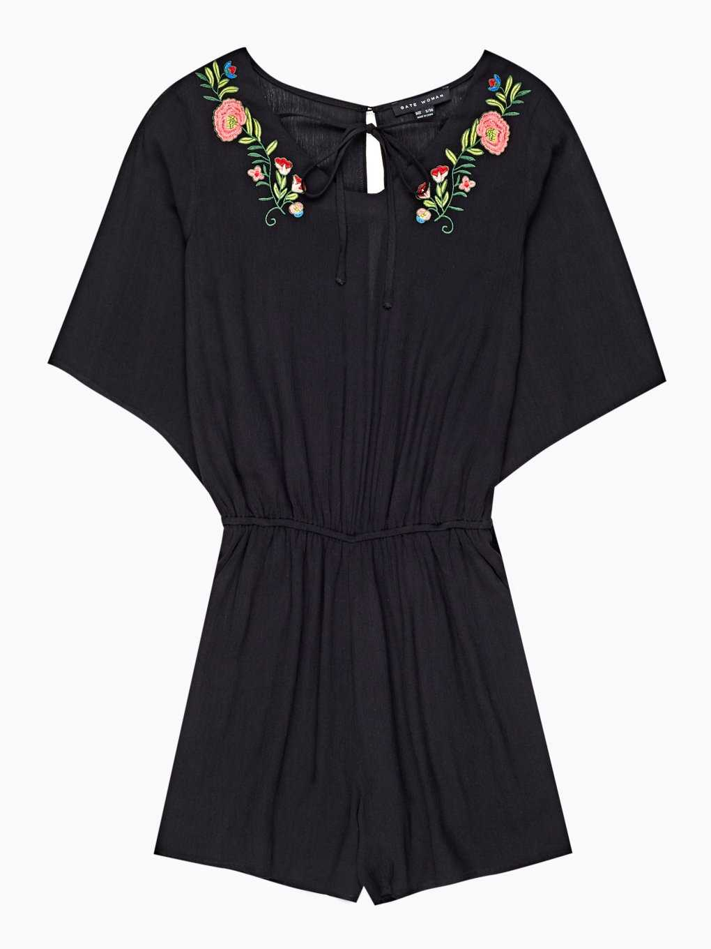 Short jumpsuit with floral embroidery