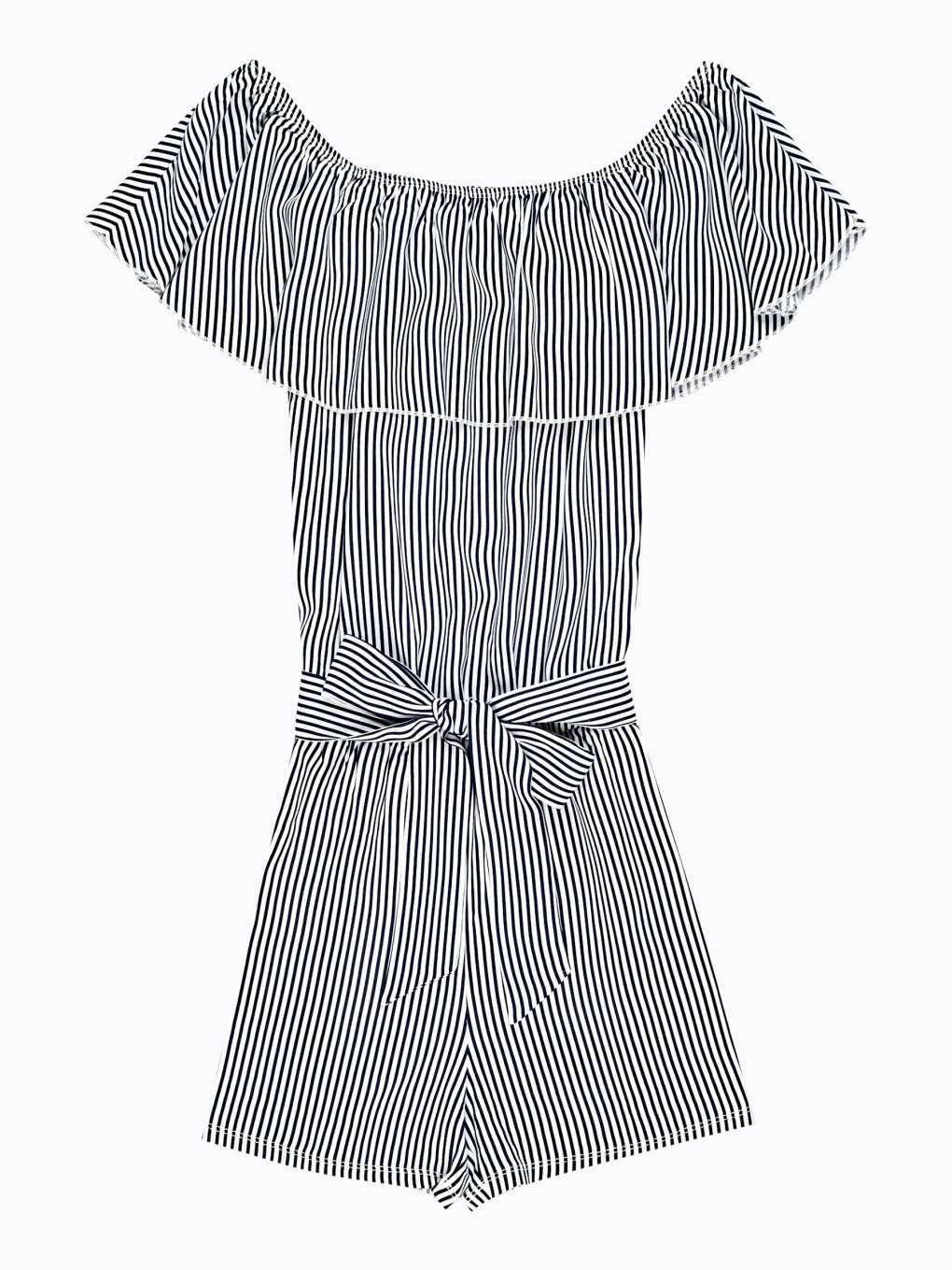 Striped short jumpsuit with ruffle