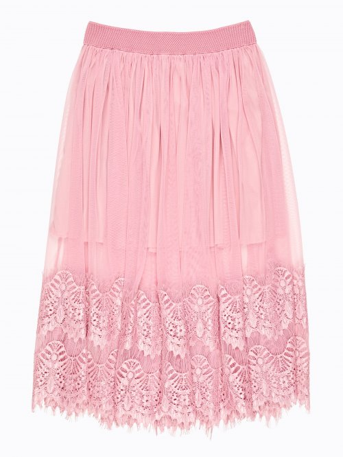A-line midi lace skirt