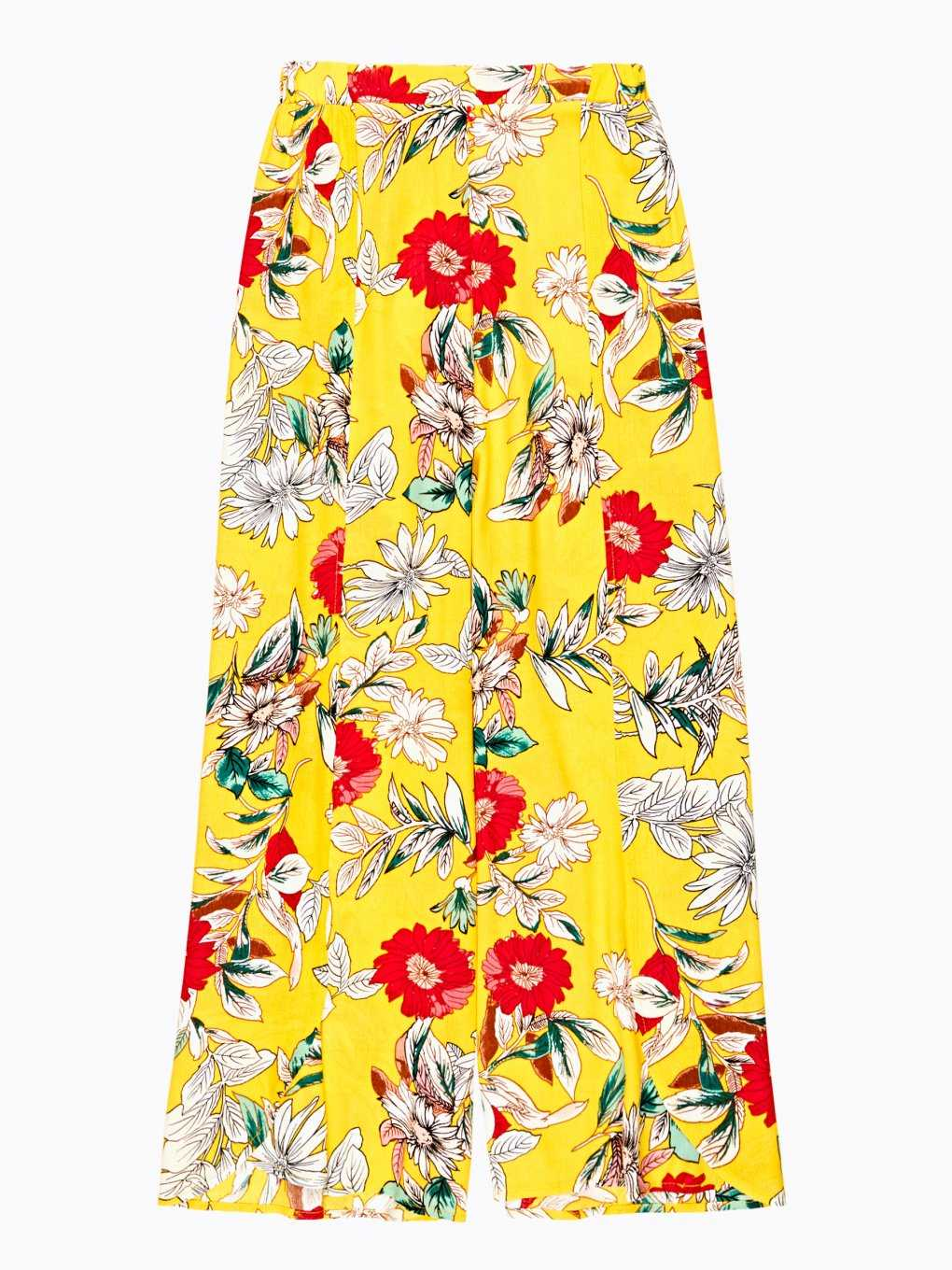 Wide leg flower print trousers with side slits