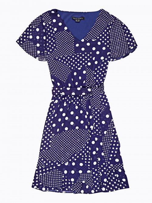048fb27fe7b1 Puntíkované šifónové zavinovací šaty