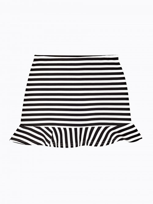 Striped skirt with ruffle on hem