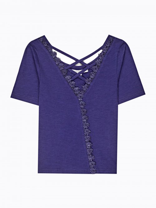 Lace-up wrap top with crochet detail