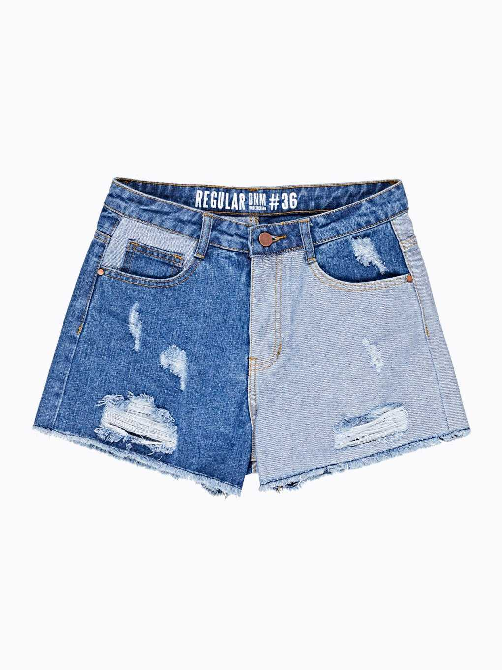 Denim shorts with reversed pannels