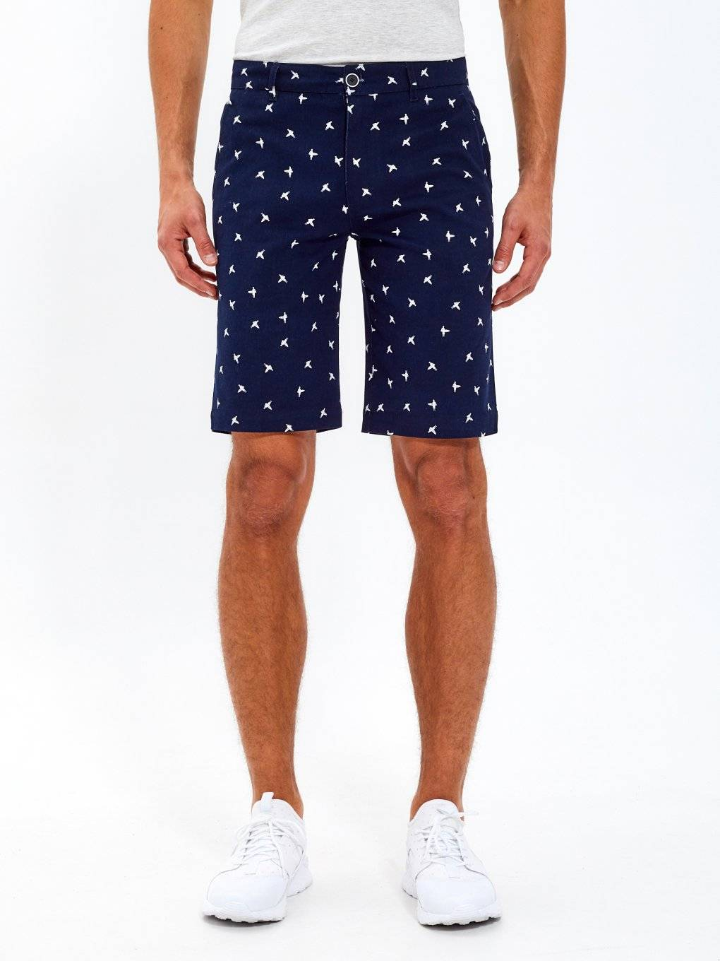 Printed stretch chino shorts