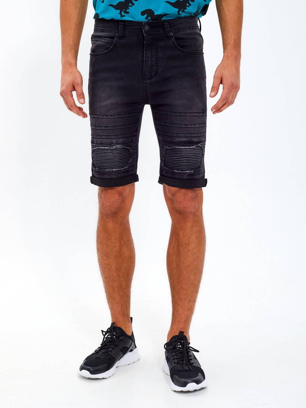 Biker denim shorts