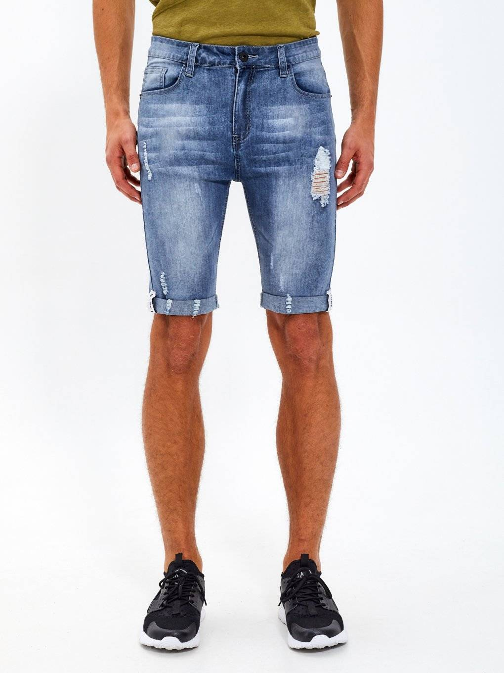 Distressed denim shorts with tapes