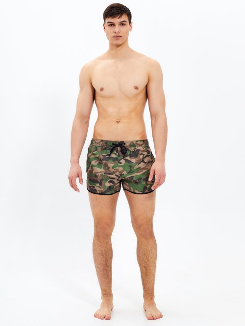 Camo print swimshorts with contrast trim