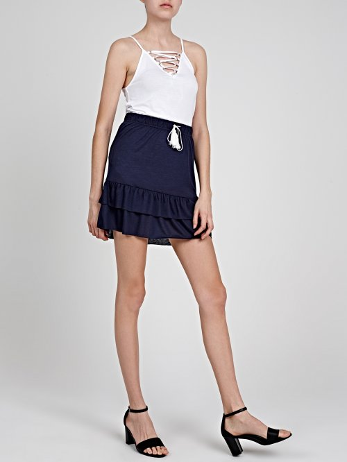 MINI SKIRT WITH HEM RUFFLE